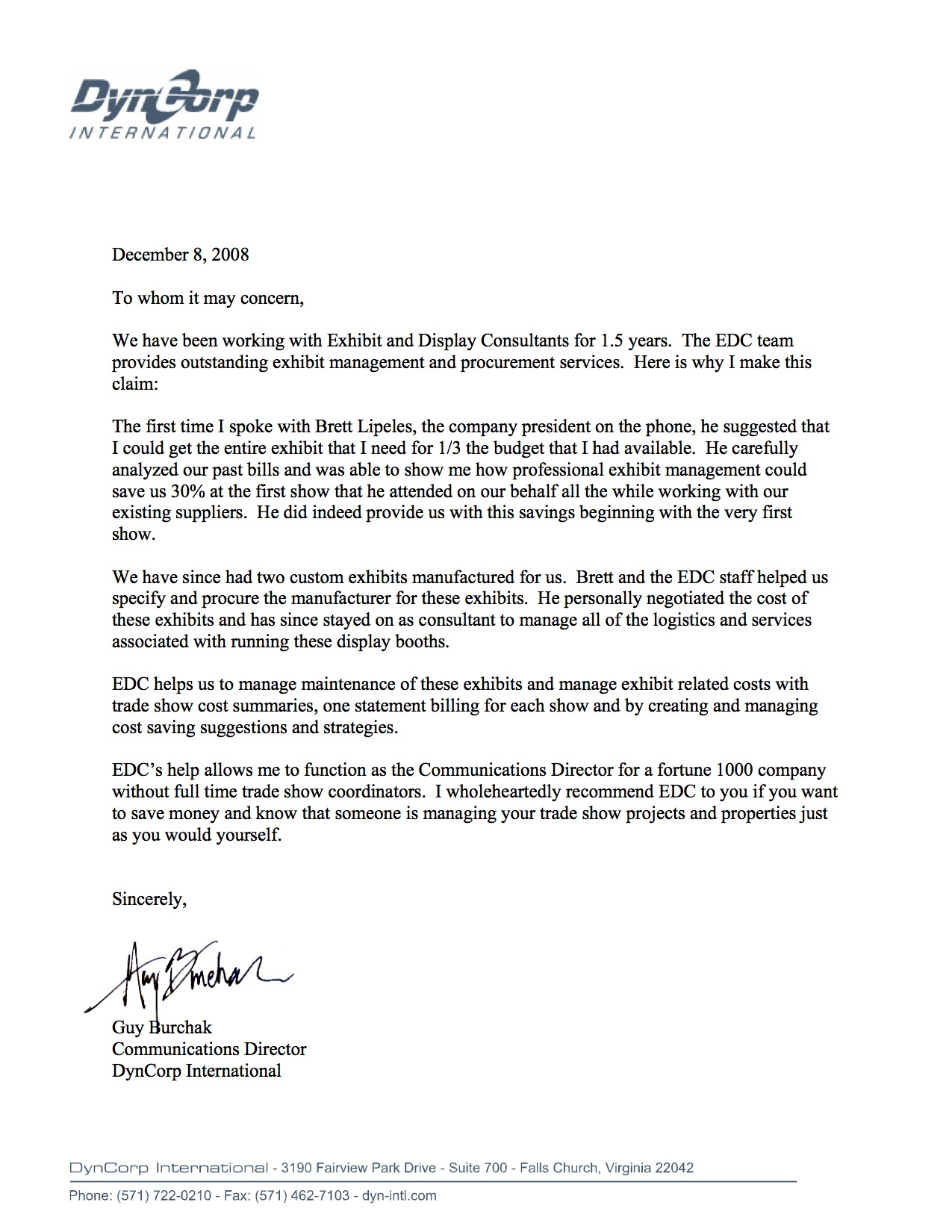 DynCorp Int'l Reference Letter